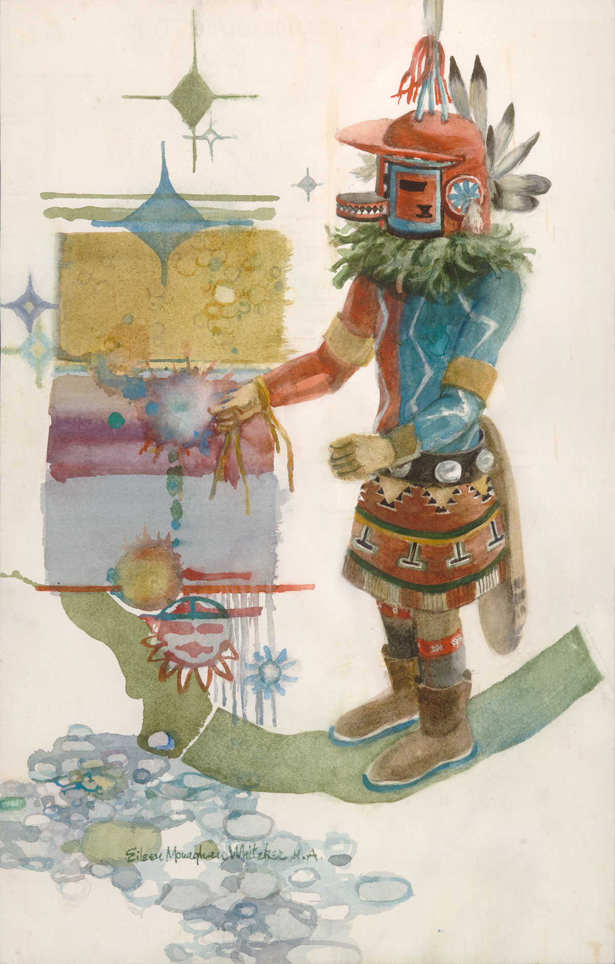 """Kachina Marao"" 1983 © Eileen Monaghan Whitaker 22x14 inches Watercolor"