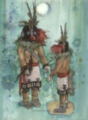 """""""Kachina Dolls (Corn Dancers Sio Avachhoya)"""" 1983 © Eileen Monaghan Whitaker 22x30 inches"""
