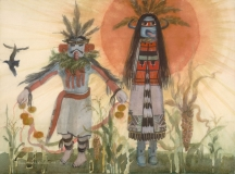 """""""Kachinas in Sunlight"""" 1983 © Eileen Monaghan Whitaker 22x30 inches Watercolor"""