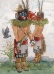 """Kachina Dolls #2"" 1987 © Eileen Monaghan Whitaker 30x22 Watercolor"