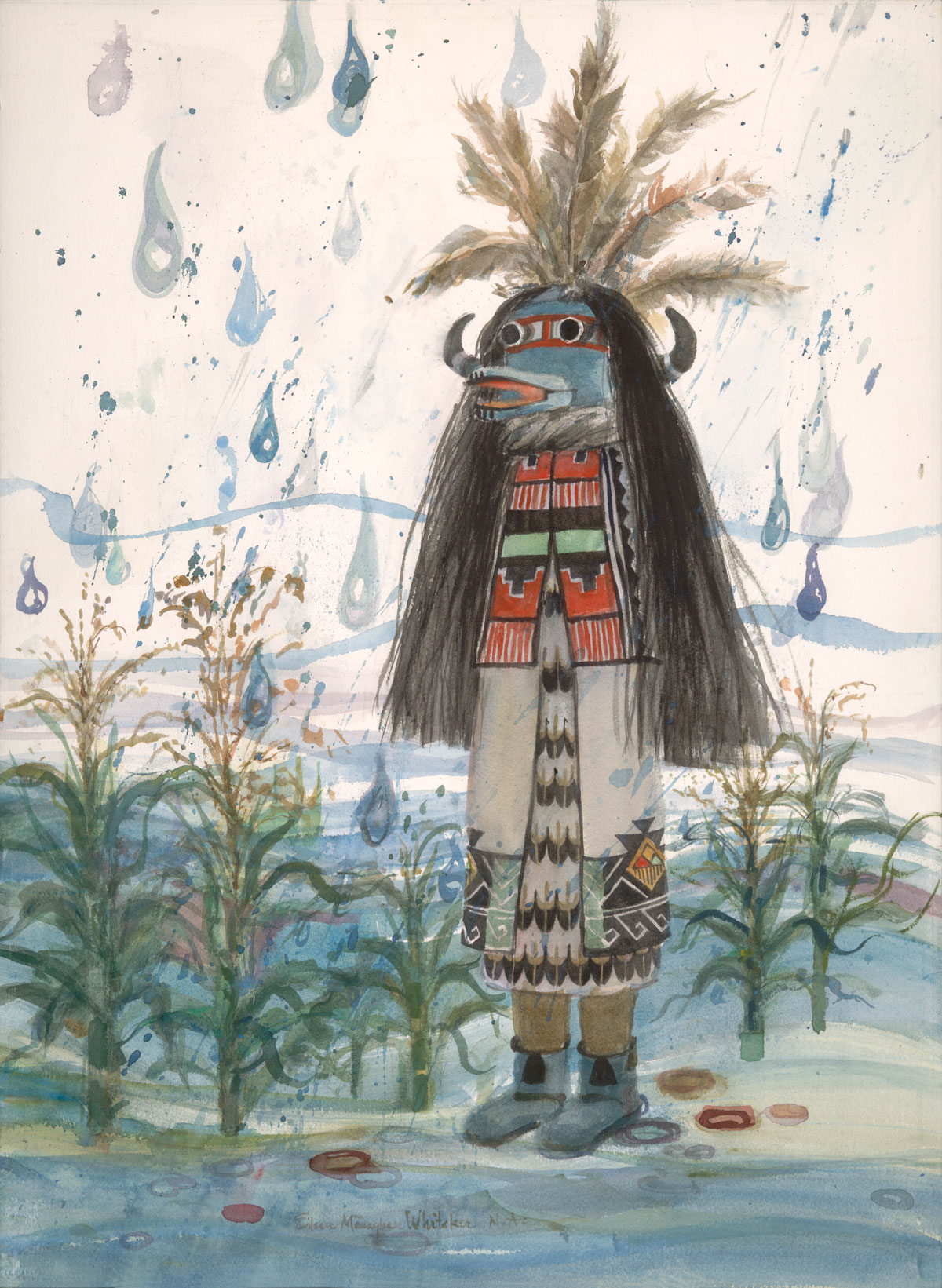 """Kachina Springtime Rain"" 1986 © Eileen Monaghan Whitaker 30x22 inches Watercolor"