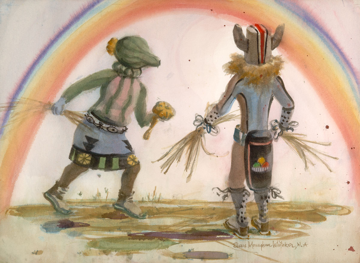 """Kachinas The Runners"" 1986 © Eileen Monaghan Whitaker 16x22 Watercolor"
