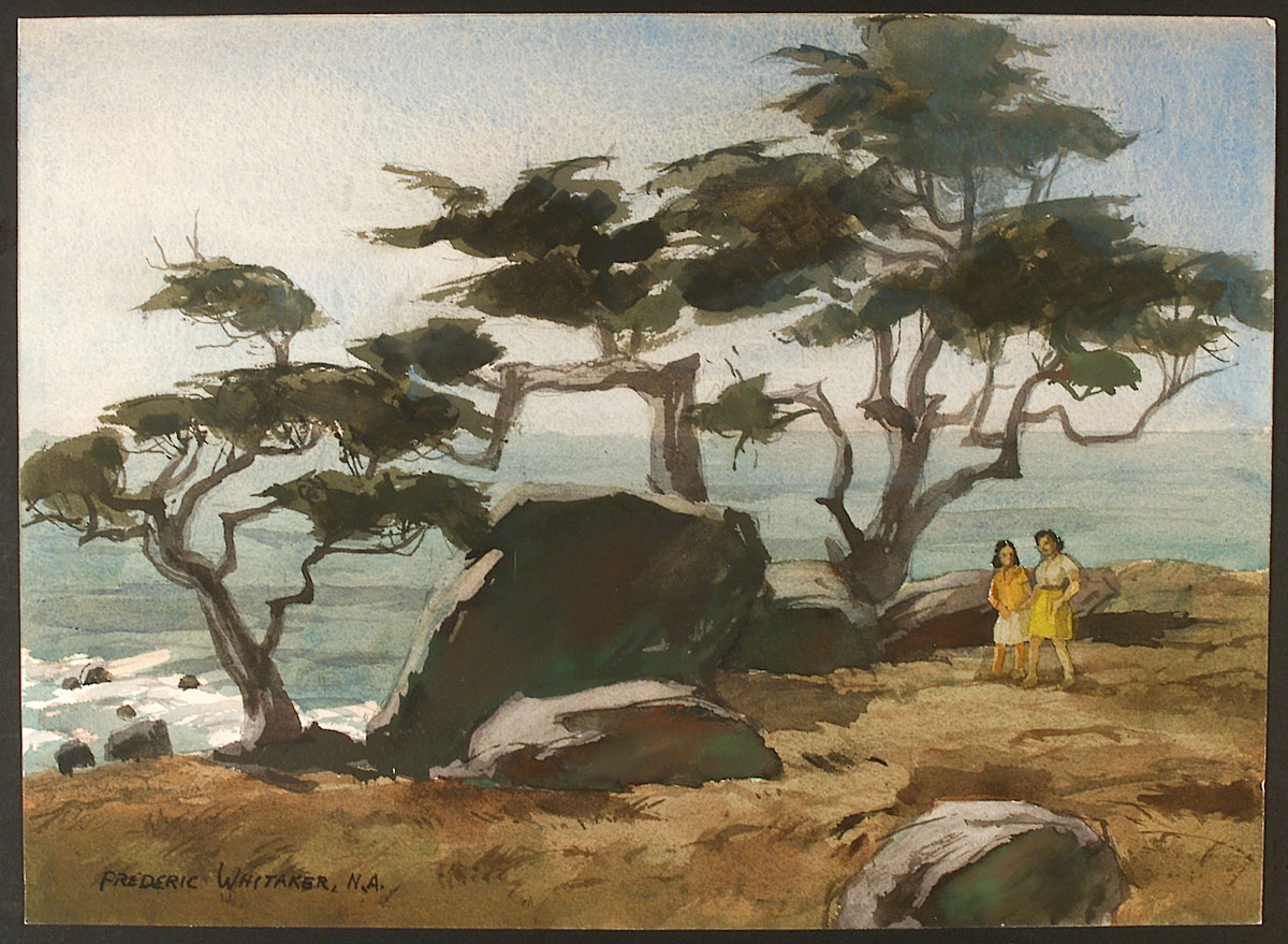 """Monterey Cypress #2"" 1972 © Frederic Whitaker N.A. 22x16 inches Watercolor"
