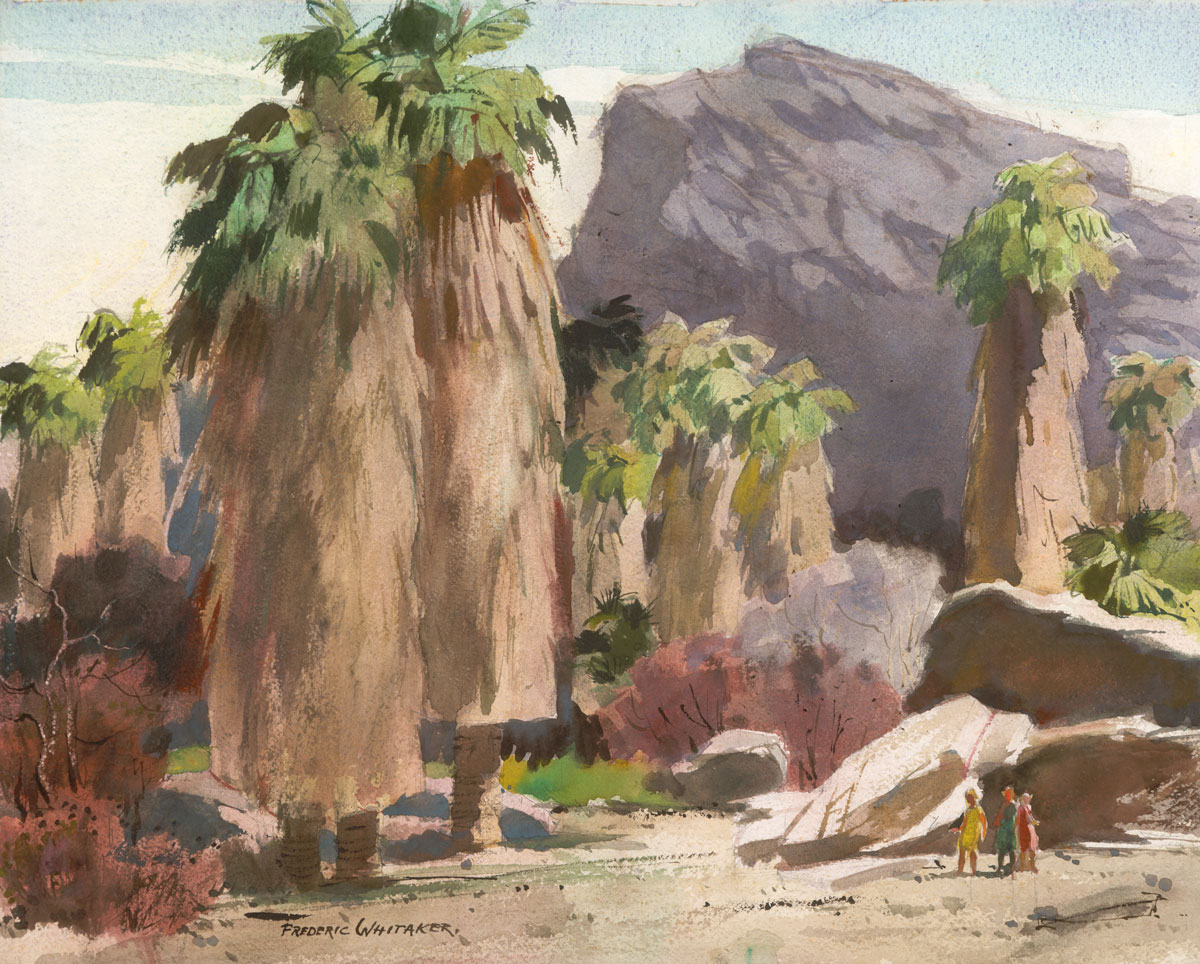 """Washington Palms"" 1968 © Frederic Whitaker 22x27.5 inches Watercolor"