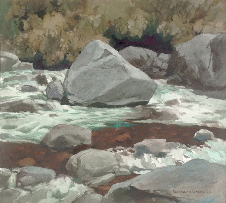 """Yosemite Cascade"" 1971 © Frederic Whitaker 22x24.5 inches Watercolor"
