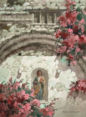 """A New Statuette In An Old Niche"" 1974© Frederic Whitaker N.A. 22x30 inches Watercolor"