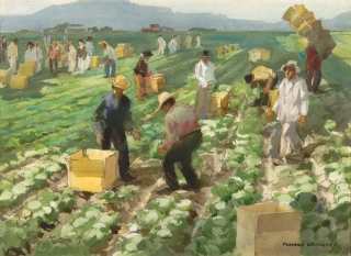 """Lettuce Pickers"" 1966 © Frederic Whitaker 22x30 inches Watercolor"