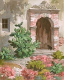 """""""Patio Decked with Flowers"""" 1974 © Frederic Whitaker N.A. 22x27.5 inches Watercolor"""