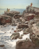 """""""Incoming Tide"""" 1972 © Frederic Whitaker 22x27.50 inches Watercolor"""