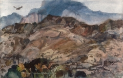 """""""Mountain Tops, East of San Diego"""" 1969 © Eileen Monaghan Whitaker 14x20 inches"""