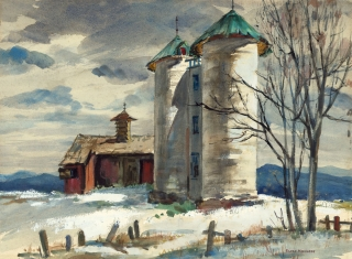 """Silos in Winter"" (date unknown) © Eileen Monaghan Whitaker 16.25x22.75 inches"