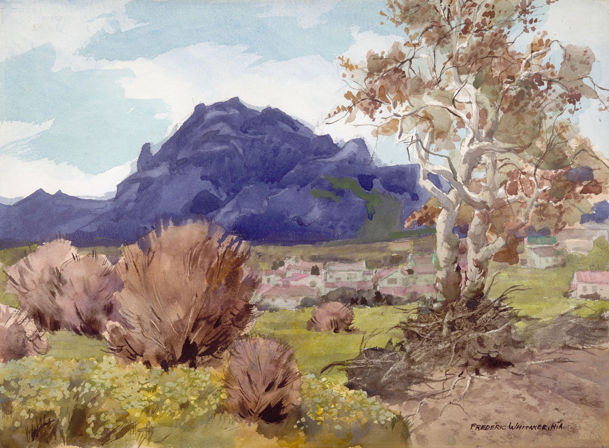 """""""A Village in the Valley"""" 1973 © Frederic Whitaker N.A. 22x30 inches Watercolor"""