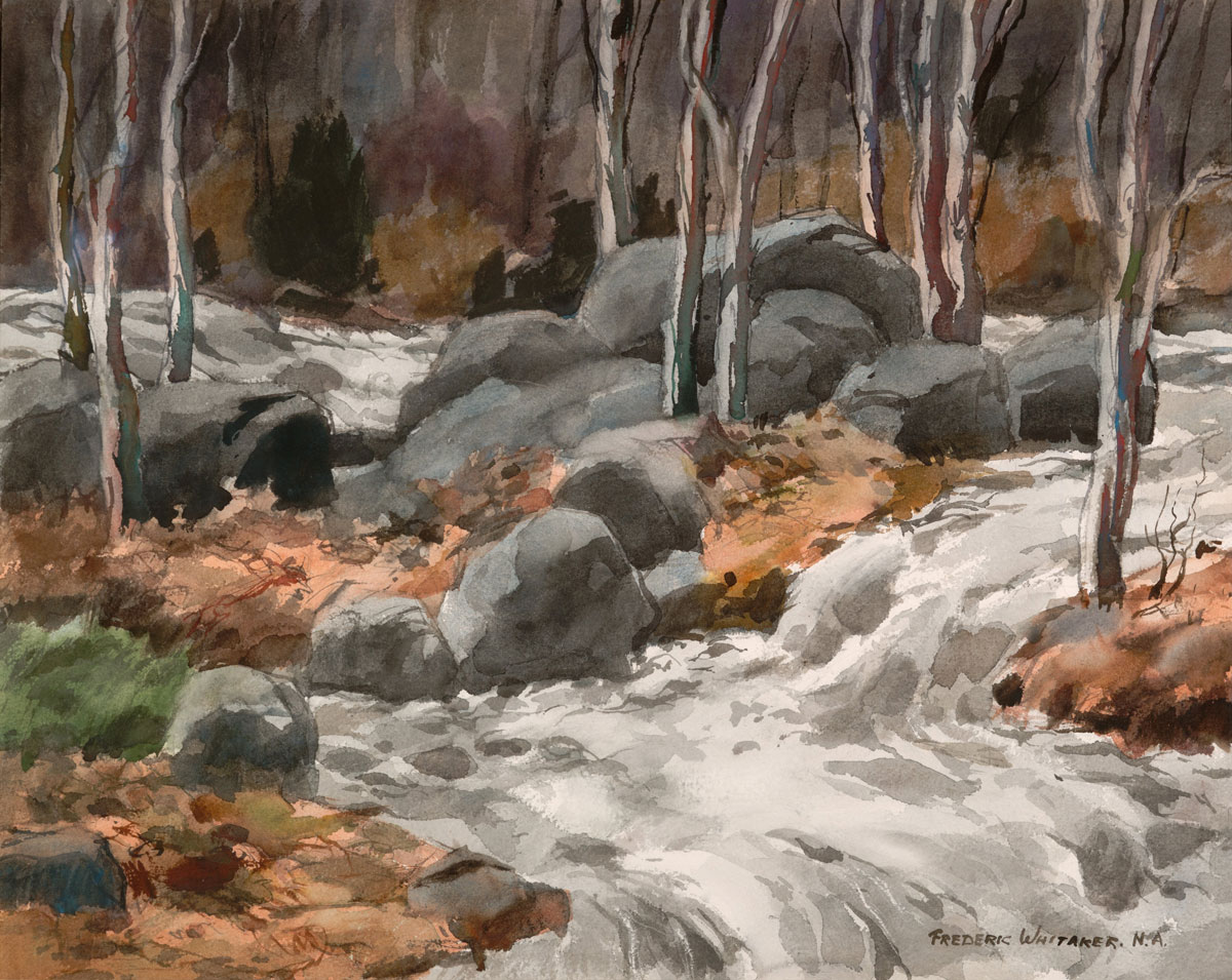 """""""Busy Brook"""" 1970 © Frederic Whitaker N.A.  22x27.5 inches"""