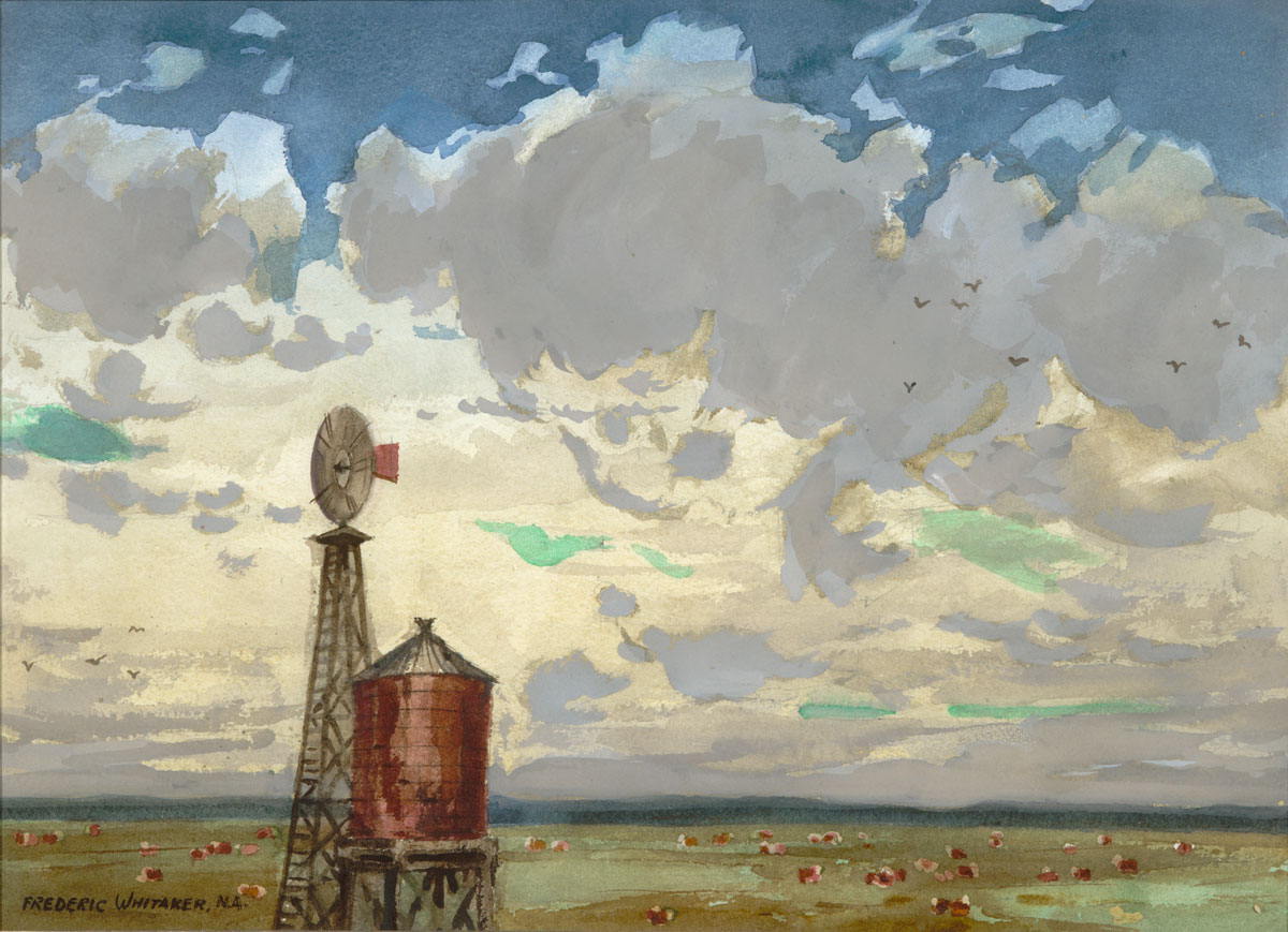 """""""Cow Country, No. 2"""" 1972 © Frederic Whitaker N.A. 16x22 inches Watercolor"""
