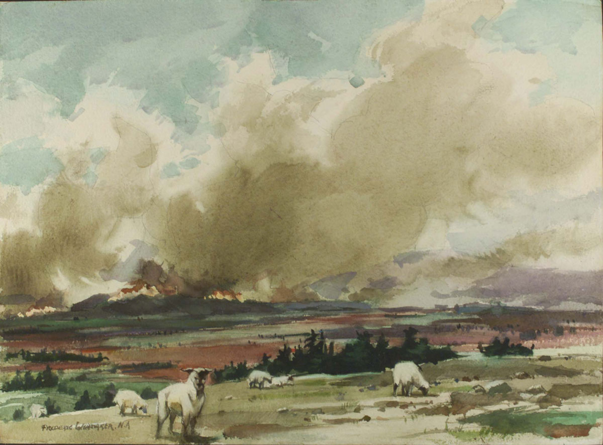 """""""Crown Fire (grazing sheep)"""" 1966 © Frederic Whitaker N.A.  22x30 inches Watercolor"""