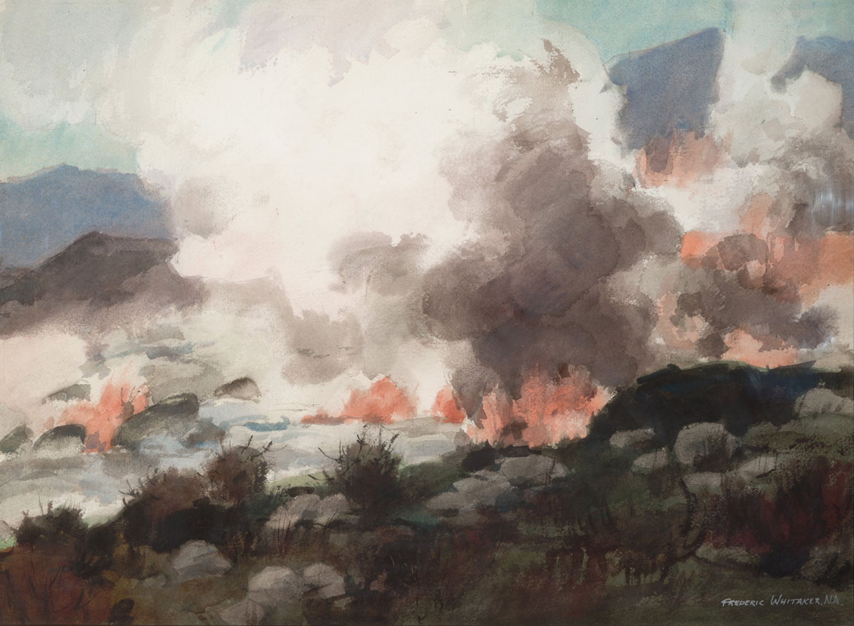 """""""Fire in the Mountains"""" 1966 © Frederic Whitaker N.A.  22x30 inches"""