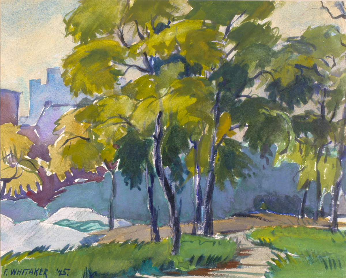 """""""Path Between Trees"""" 1945 © Frederic Whitaker Watercolors"""