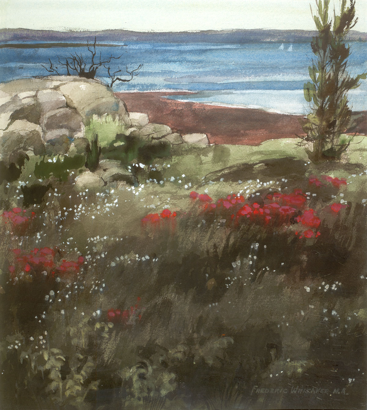 """""""Seaside Flower Garden"""" 1970 © Frederic Whitaker N.A. 22x24.5 inches Watercolor"""