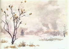 """""""Fire and Fog"""" © Frederic Whitaker Watercolor"""