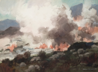 """Fire in the Mountains"" 1966 © Frederic Whitaker N.A.  22x30 inches"