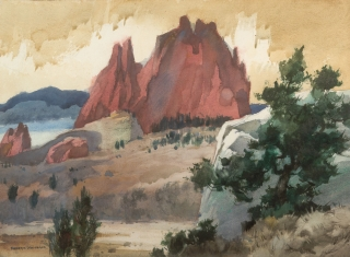 """Gardens of the Gods"" 1964 © Frederic Whitaker N.A.  22x30 inches Watercolor"