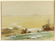 """""""Light Snow"""" 1935 © Frederic Whitaker 11x15 inches Watercolor"""