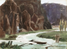 """""""Still RIver"""" 1968 © Frederic Whitaker N.A.  22x30 inches Watercolor"""