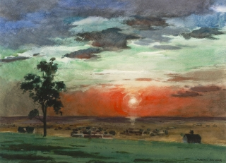 """Sunset on the Plains"" 1966 © Frederic Whitaker N.A.  22x30 inches"