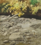 """""""The Black Brook"""" 1971 © Frederic Whitaker N.A.  22x24.5 inches Watercolor"""