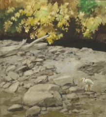 """""""The Black Brook"""" 1971 © Frederic Whitaker 22x24.5 inches Watercolor"""