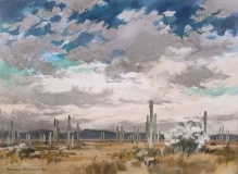 """""""Saguaro Country"""" 1966 © Frederic Whitaker N.A. 22x30 inches Watercolor"""