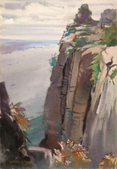 """Sea Cliffs"" 1942 © Frederic Whitaker 20x14 inches Watercolor"