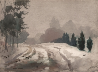 """Winter Fog"" 1961 © Frederic Whitaker N.A.  22x30 inches"