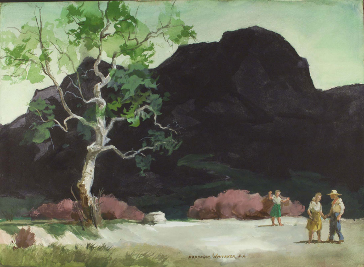 """""""In the Spring"""" 1973 © Frederic Whitaker N.A.  22x30 inches Watercolor"""