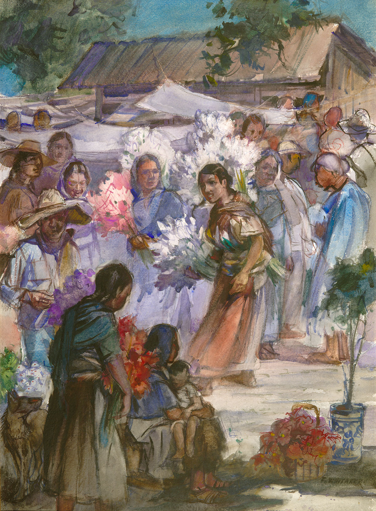 """""""Flower Market"""" (Xochimilco) 1977 © Frederic Whitaker N.A. 22x30 inches Watercolor"""