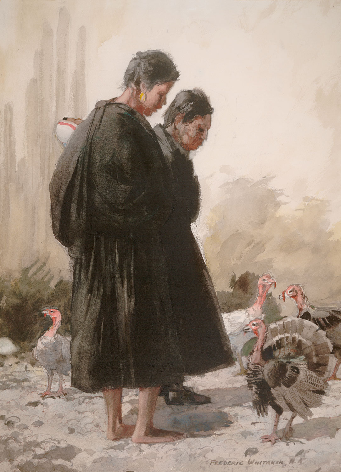 """""""Birdwatchers"""" 1969 © Frederic Whitaker N.A. 30x22 inches Watercolor"""