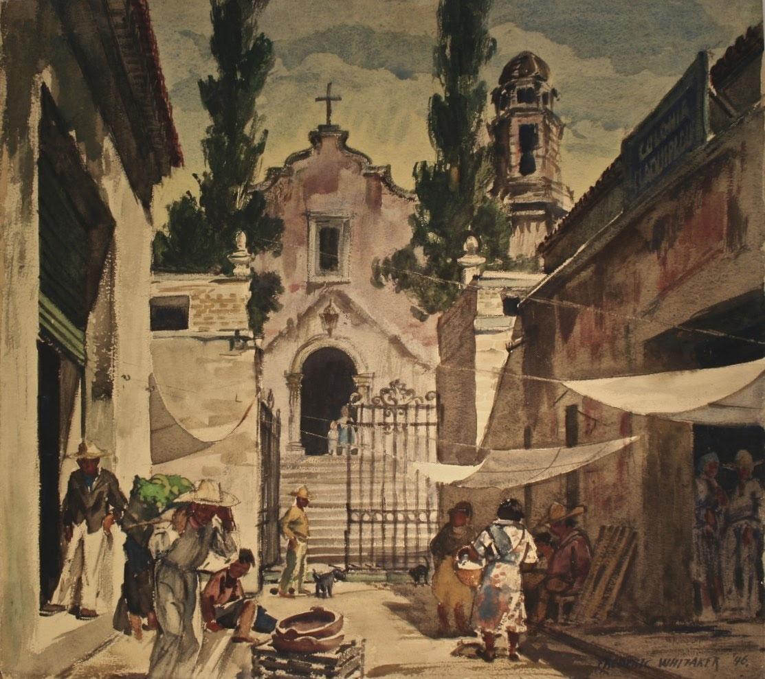 """Cuernavaca Street""1946 © Frederic Whitaker 22x24.5 inches"