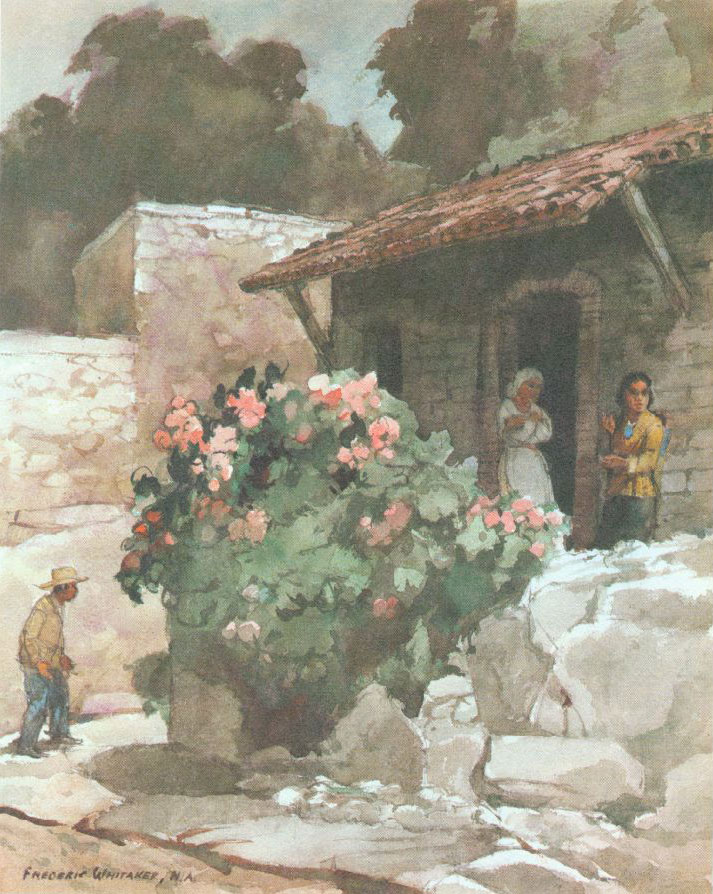 """""""House in San Miguel"""" 1970 © Frederic Whitaker 22x27 inches Watercolor"""