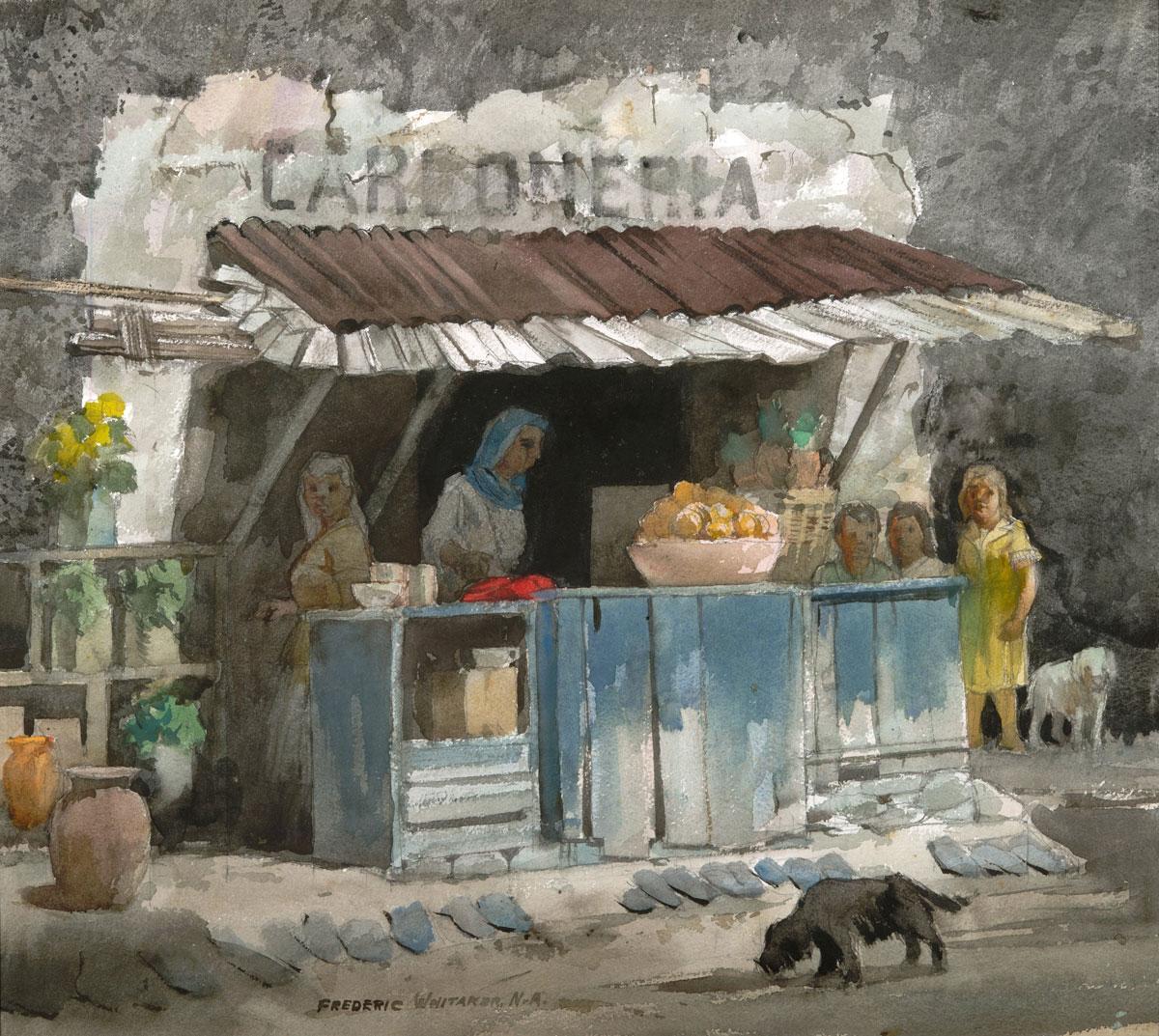 """""""La Tienda"""" 1971 © Frederic Whitaker 22x24.5 inches Watercolor"""