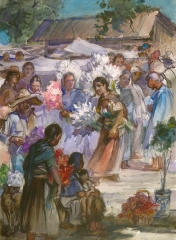 """Flower Market"" (Xochimilco) 1977 © Frederic Whitaker N.A. 22x30 inches Watercolor"