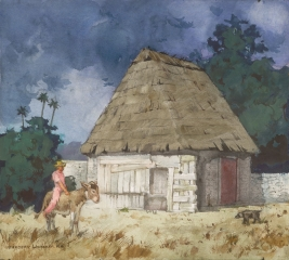 """Home in Yucatan"" 1975 © Frederic Whitaker 22x24.5 inches Watercolor"