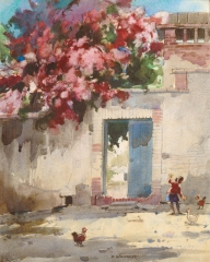 """Mexican Doorway"" 1966 © Frederic Whitaker 22x16 inches Watercolor"