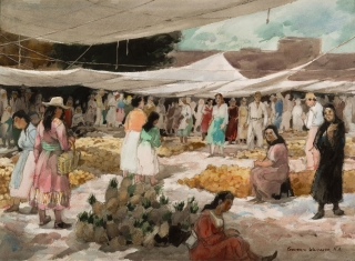 """The Fruit Market"" 1969 © Frederic Whitaker 22x30 inches"