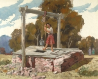 """""""Well Worn Wishing Well"""" 1973 © Frederic Whitaker N.A. 22x27.5 inches Watercolor"""