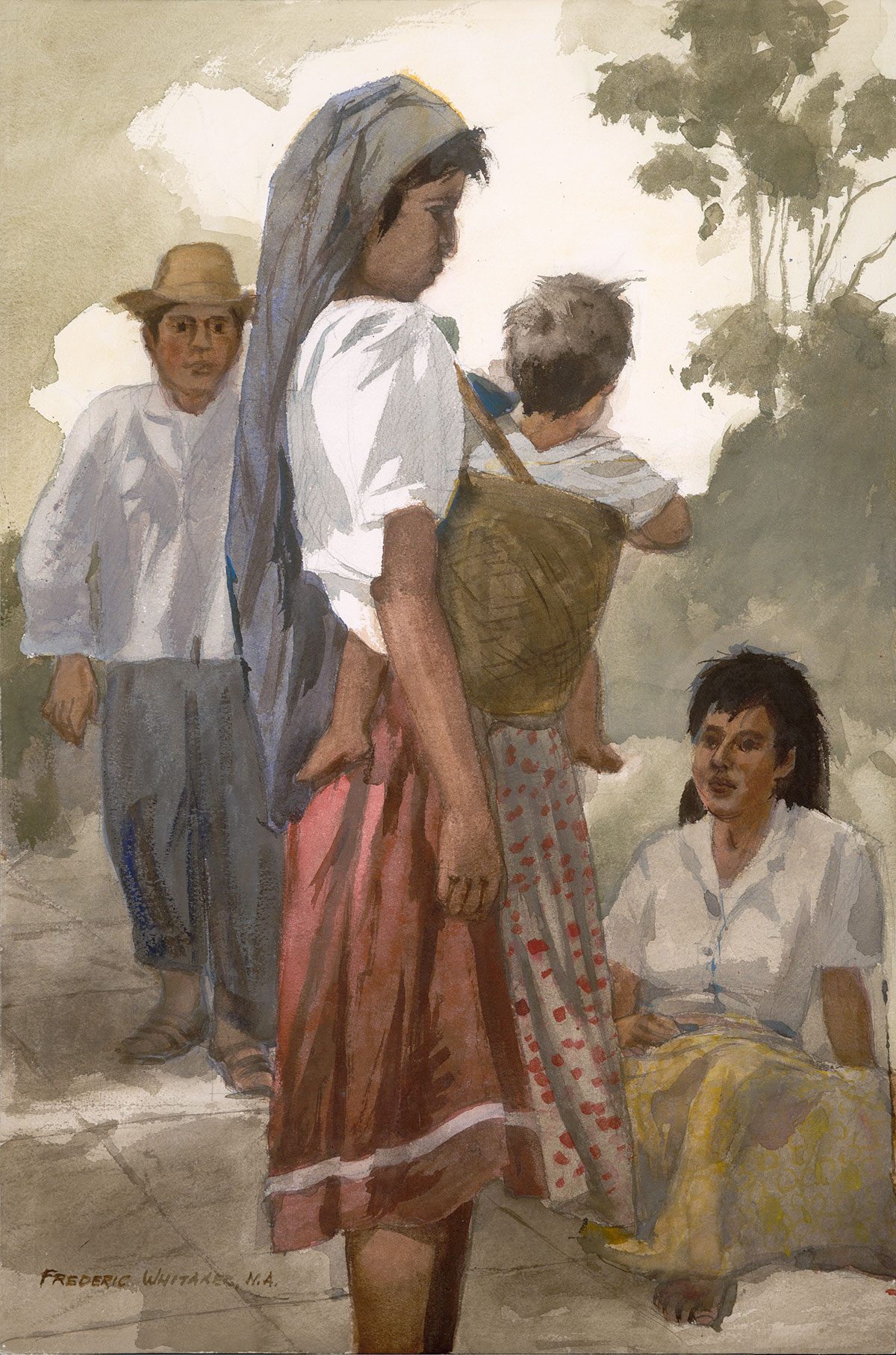 """""""Chit Chat"""" 1970 © Frederic Whitaker 30x20 inches Watercolor"""