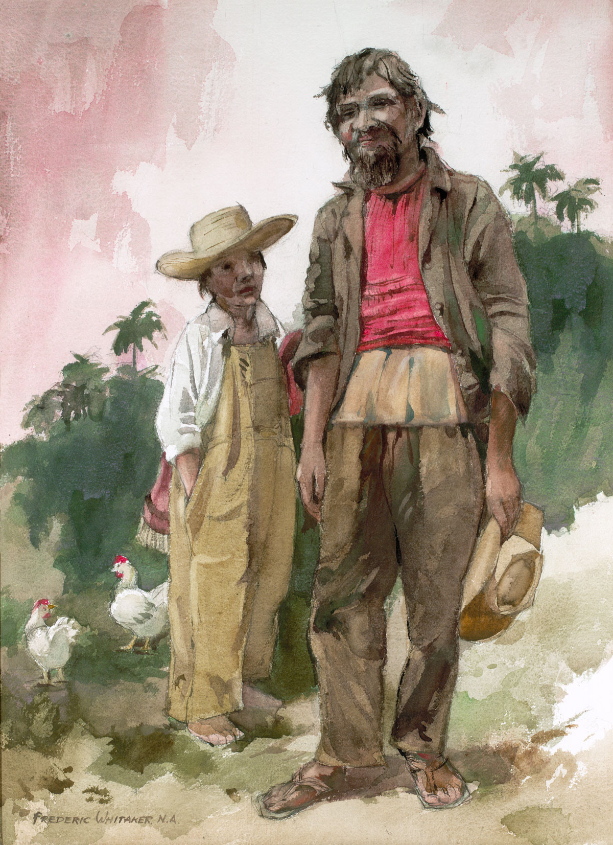 """""""Father And Son"""" 1970 © Frederic Whitaker N.A. 30x20 inches Watercolor"""