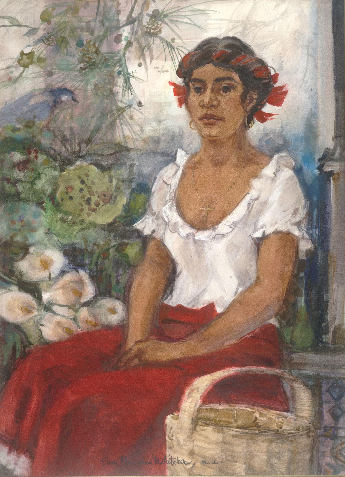 """Zapoteca Girl"" 1975 © Eileen Monaghan Whitaker N.A. 30x22 inches Watercolor"