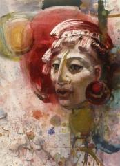 """Mayan Warrior"" 1967 © Eileen Monaghan Whitaker 30x22 inches"