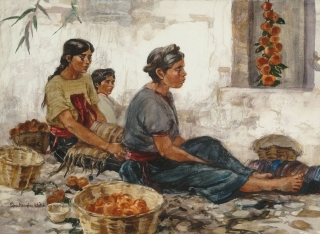 """Se Venden Naranjas"" 1975 © Eileen Monaghan Whitaker 22x30 inches"