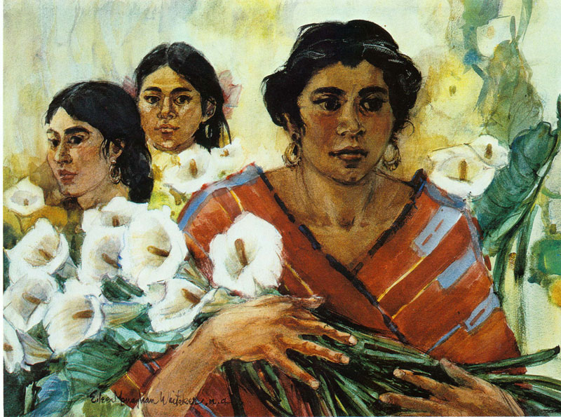 """""""Ladies Bringing Lilies"""" 1977 © Eileen Monaghan Whitaker (size unknown) Watercolor"""